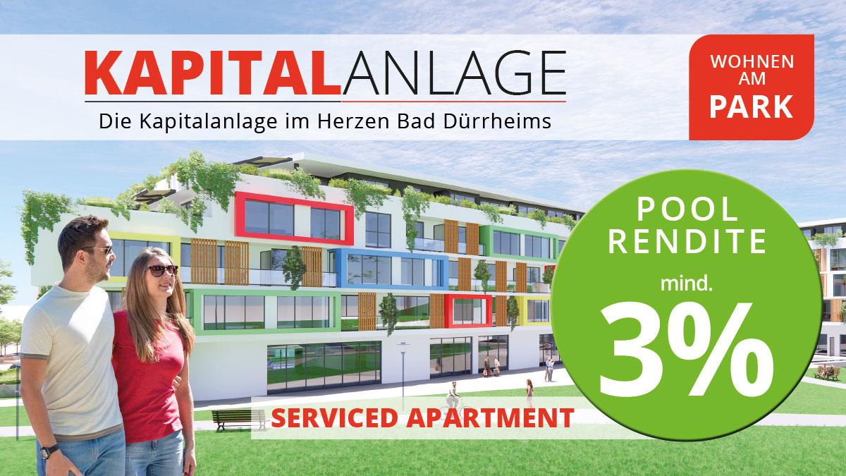 """Immobilien Kapitalanlage – Serviced Apartment """"Wohnen am Park"""", Bad Dürrheim – Garantierte Rendite"""
