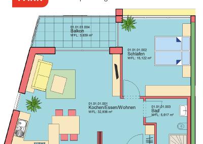 """Immobilien Kapitalanlage – Serviced Apartment """"Wohnen am Park"""", Bad Dürrheim – Grundriss Apartment 01.01"""
