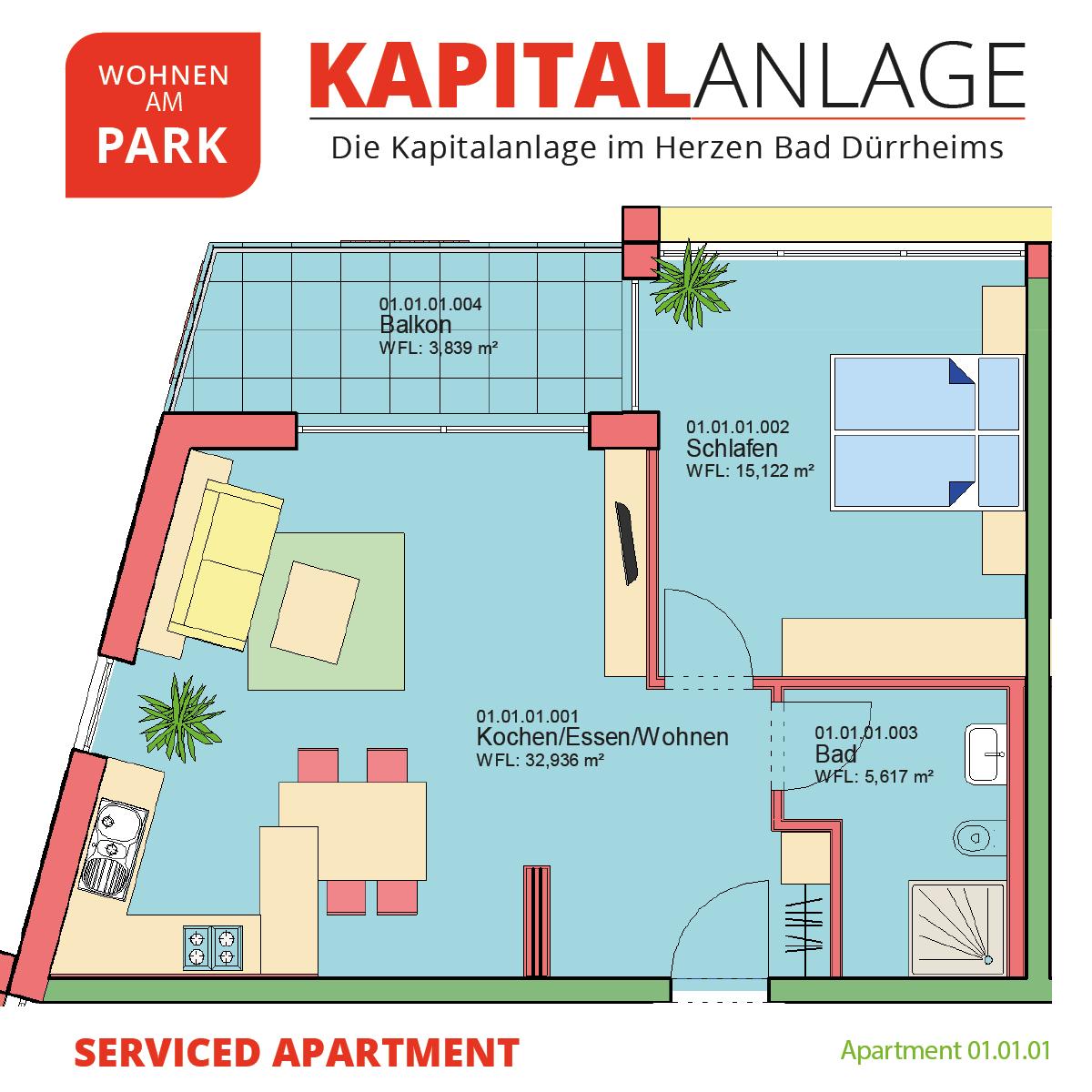 Kapitalanlage Apartment 01.01.10 Grundriss - Bad Dürrheim