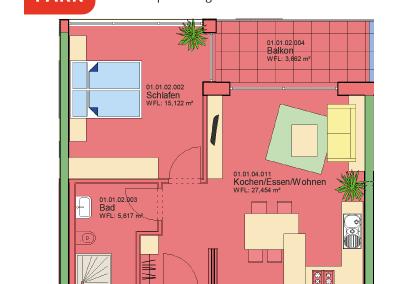 """Immobilien Kapitalanlage – Serviced Apartment """"Wohnen am Park"""", Bad Dürrheim – Grundriss Apartment 01.02"""