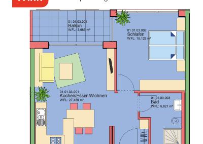 """Immobilien Kapitalanlage – Serviced Apartment """"Wohnen am Park"""", Bad Dürrheim – Grundriss Apartment 01.03"""