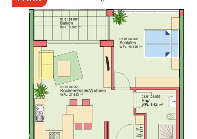 """Immobilien Kapitalanlage – Serviced Apartment """"Wohnen am Park"""", Bad Dürrheim – Grundriss Apartment 01.04"""