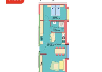 """Immobilien Kapitalanlage – Serviced Apartment """"Wohnen am Park"""", Bad Dürrheim – Grundriss Apartment 01.06"""