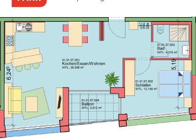 """Immobilien Kapitalanlage – Serviced Apartment """"Wohnen am Park"""", Bad Dürrheim – Grundriss Apartment 01.07"""