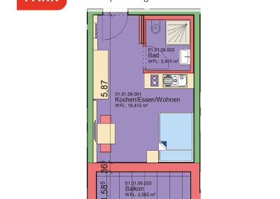 """Immobilien Kapitalanlage – Serviced Apartment """"Wohnen am Park"""", Bad Dürrheim – Grundriss Apartment 01.09"""