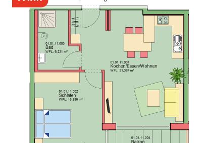 """Immobilien Kapitalanlage – Serviced Apartment """"Wohnen am Park"""", Bad Dürrheim – Grundriss Apartment 01.11"""