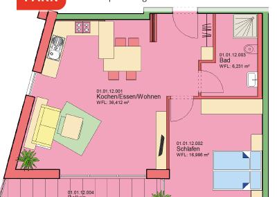 """Immobilien Kapitalanlage – Serviced Apartment """"Wohnen am Park"""", Bad Dürrheim – Grundriss Apartment 01.12"""